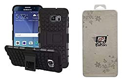 Saihan Combo Pack of 2 - One Tempered Glass Plus One Dual Layer Armour Kick Stand Case Cover (Black) for HTC D826