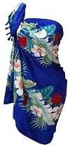 La Leela Chiffon Floral Printed Sheer Beach Swim Hawaiian Sarong Cover up Blue
