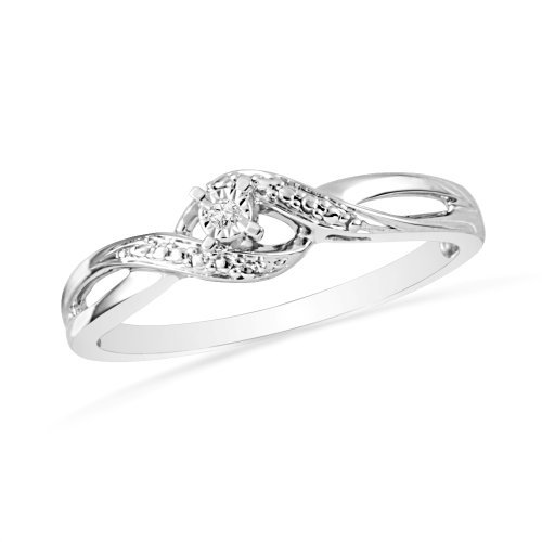 Platinum Plated Sterling Silver Round Diamond Twisted Promise Ring (0.01 Cttw)