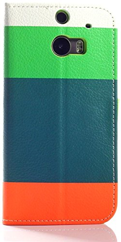 Mylife (Tm) Orange And Lime Green {Four Stripe Design} Faux Leather (Card, Cash And Id Holder + Magnetic Closing) Slim Wallet For The All-New Htc One M8 Android Smartphone - Aka, 2Nd Gen Htc One (External Textured Synthetic Leather With Magnetic Clip + In