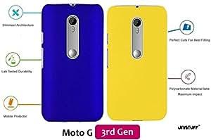 For Motorola Moto G 3rd Gen[COMBO OFFER]: Unistuff™ Matte Finish Hard Case Back Cover for Motorola Moto G 3rd Gen [SLIM FIT][FREE SHIPPING] (Dark Blue, Yellow)