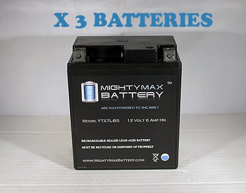 Ytx7L-Bs 12V 6Ah Replacement For Kymco People 125 Deep Cycle - 3 Pack