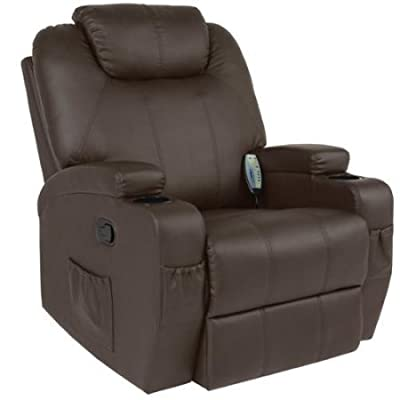 Best Choice Products Massage Recliner Sofa Chair Heated W/ Control Ergonomic, Brown