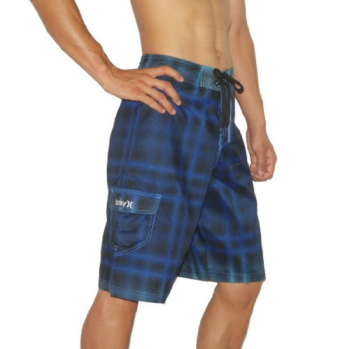 Mens Hurley Skate & Surf Boardshorts Board Shorts - Black & Blue (Size: 32)