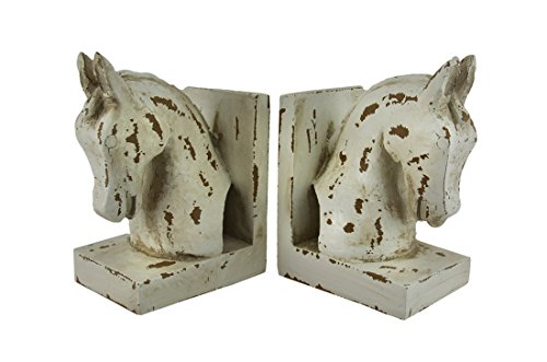 Distressed Finish White Enamel Horse Head Bookends