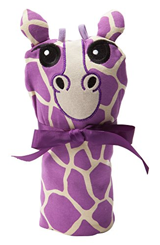 Sozo Baby-Girls Newborn Giraffe Swaddle Blanket and Cap Set, Purple/Tan, One Size - 1