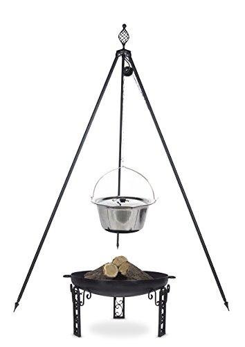 Gulaschkessel 8 ltr. Edelstahl mit Deckel auf Dreibein Royal, inkl. Feuerschale # 40 günstig bestellen