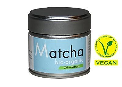Bio Matcha Starter Set - Blue Style - 30 g Dose - Vegan PLUS Matcha Besen Chasen PLUS Matcha Löffel Chashaku - Matcha Set von tee-markt24 - Gewürze Shop