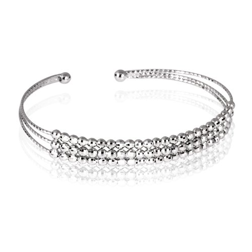 Fashion Plaza Women's 925 Sterling Silver 3 Row Shining Diso Beads Open Sized Cuff Bangle Bracelet Weights 6.3g Expandable Y40