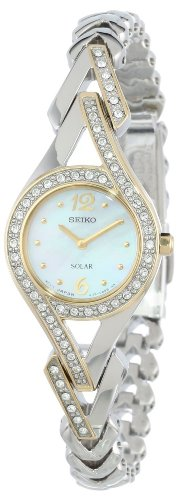 Seiko Women's SUP174 Swarovski Crystal-Accented Stainless Steel Two-Tone Solar Watch