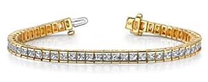 18k Yellow Gold, Classic Princess Cut Diamond Tennis Bracelet, 18.67 ct. (Color: GH, Clarity: SI1)