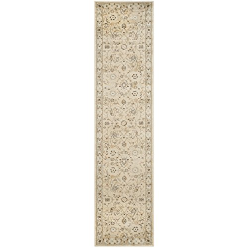 Safavieh Florenteen Collection FLR125-1280 Ivory and Grey Area Runner, 2 feet by 8 feet (2' x 8')