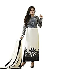 VH Fashion Drashti Dhami Black And White Neck Embroidered Semi Stitched Long Straight Suit With Exclusive Back Work
