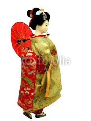 "Wallmonkeys Peel and Stick Wall Decals - Geisha Doll - 24""H x 18""W Removable Graphic"