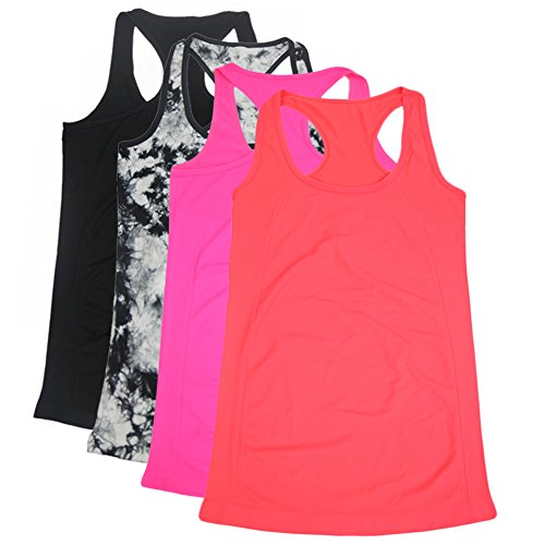 Semath Women's Stretchy Solid Color Essential Loose Fit Tank Top Supersoft Cami,4 Pack,Black/Black-White/Orange Red/Magenta,X-Large