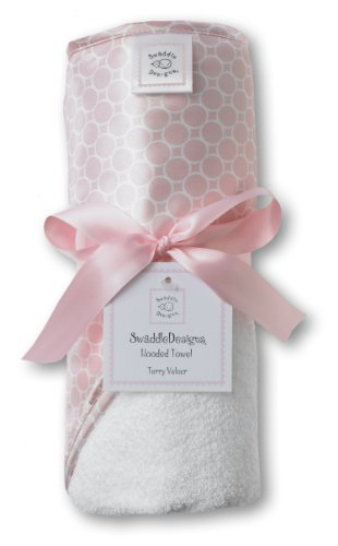 SwaddleDesigns Terry Velour Hooded Towel, Mini Mod Circles, Pastel Pink