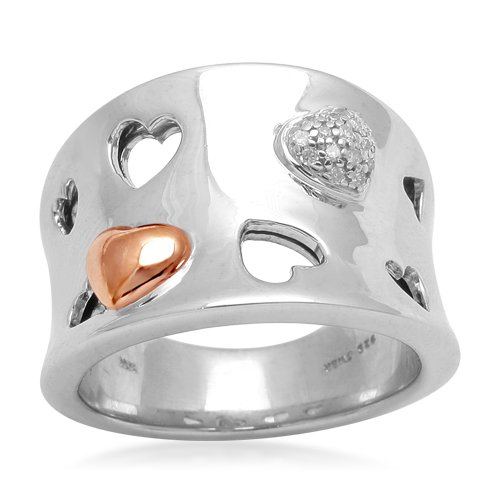 10K Rose Gold and Silver Diamond Multi-Heart Band Ring (0.04 cttw, I-J Color, I3 Clarity), Size 7