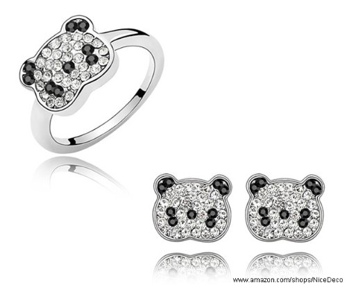 Nicedeco JE-SW-TZ080-clear,Swarovski Elements Austrian Crystal Jewelry Sets,Cute Panda,Ring And Earring(2-Piece Set),Elegant style and exquisite craftsmanship