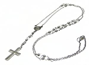 Neptune Giftware Rosary Bead Necklace Chain with Hematite Cross / Crucifix Pendant - Adjustable