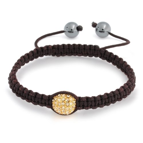 Bling Jewelry Gold Swarovski Crystal Hematite Bead Brown Macrame Bracelet 12mm