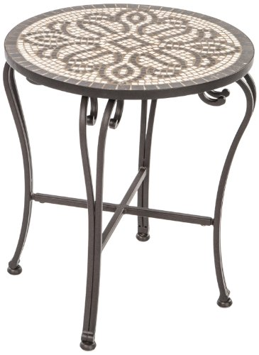 Alfresco Home Orvieto Indoor Outdoor Marble Mosaic Side Table