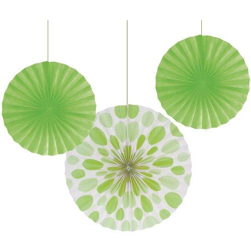 Fresh Lime Dot Paper Fans (3Ct)
