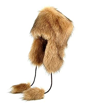 Aviator Faux Fur Hat Cossack Russian Style Trapper Winter Women Hat Ushanka (S, Beige)