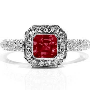 2.34Ct Emerald Cut Ruby & Diamond Engagement