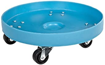 "Dixie Poly D-21-35 Plastic Drum Dolly for 35 gallon Drum, 600 lbs Capacity, 21.5"" Diameter x 6.5"" Height, Blue"