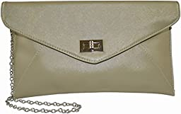 Patzino Fashion Collection, Faux Leather Women\'s Envelope Clutch/ Purse (Gold)