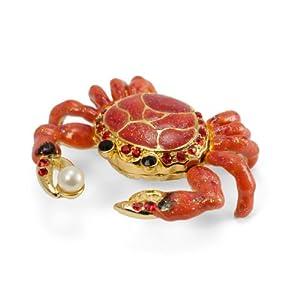 Crab Crystal Studded Pewter Jewelry Trinket Box