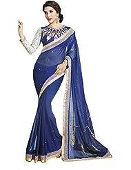Blue Party Wear Saree Indian Designer Embroidered Work Chiffon Sari EHS