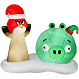 Angry Birds Christmas 5 Ft. Airblown - Lighted Red Bird Santa and Green Pig Elf Scene