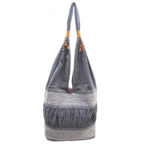 Fun & Funky Thai Linen ZigZag Shoulder Slouch Bag - Grey