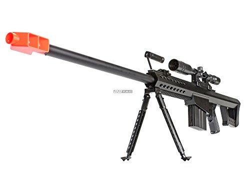 Airsoft Sniper Rifle .50 Cal Bt-82 By Bbtac® - Powerful 400 Fps, Spring Loaded Bolt Action, Full Metal Inner Barrel, With Scope And Bipod, Safety Goggle + Bbtac® Warranty & Tech Support