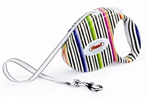 Flexi Fashion Retractable Belt Dog Leash, Small, 10-Feet Long, Supports up to 26-Pound, Multi-Colored Stripe (Milan) Design