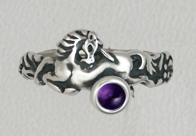 A Very Special Petite Sterling Silver Unicorn Ring Featuring a Genuine Amethyst Made in America