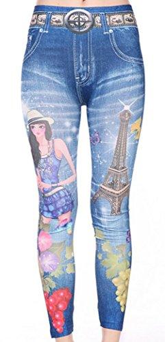 Ladies Girl-Pantacollant effetto Jeans con stampa, taglia unica 8 10 12