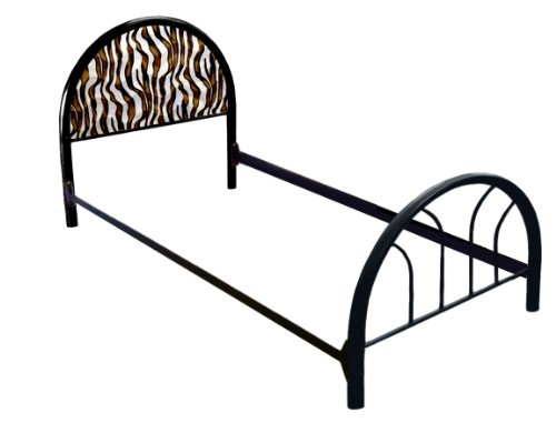 New Twin Size Custom Brown & White Zebra Faux Fur Themed Bed Set! Includes Head Board, Foot Board And Mattress Rails! front-1076036