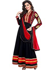 Zohraa Monika Bedi Suit-Black Faux Georgette Anarkali Suit Touch4003