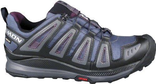 Salomon Womens XA Comp 6 GTX Grey Denim/Black/Imperial Purple Synthetic-And-Mesh Running 9.5