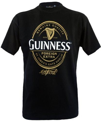 Guinness Official Merchandise - Maglietta con stampa, colletto tondo, manica corta, uomo, Nero (Black), L