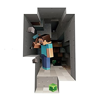3D Minecraft Style Wall Decal Poster STEVE Sticker Room Bedroom Decor Video Game ***US Shipping**