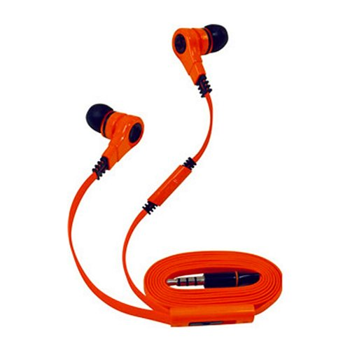 T90S Oblique Style Super Bass Anti-Tangle Flat Wire 3.5Mm Plug Stereo Earphone Headset With Volume Control & Microphone (Orange)