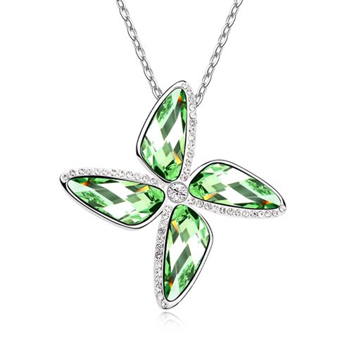 Mqueen Peridot Green Four Leaf Clover Pendant Necklace front-322533