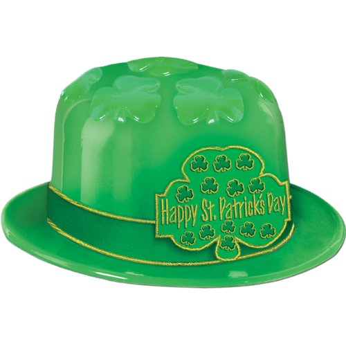 Plastic St Patrick's Day Shamrock Derby (w/printed band) Party Accessory  (1 count) - 1