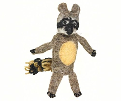 DZI Handmade Designs DZI482010 Raccoon Woolie Fingerpuppet Ornament - 1