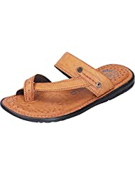DATZZ Men's Tan Denim Sandals - B018U644DE