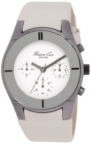 Kenneth Cole Women's Slim KC2598 White Leather Analog Quartz Watch with White Dial