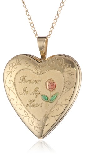 """Gold-Plated Silver """"Forever in My Heart"""" Heart Locket Pendant Necklace"""